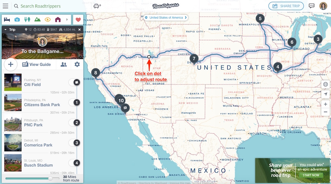 trip routing maps